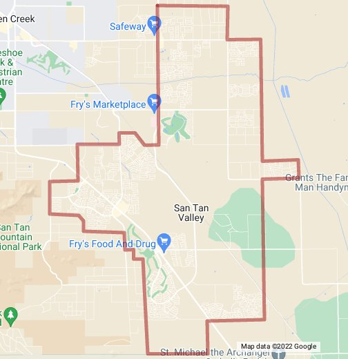 Google Map Of Arizona.San Tan Valley Az Google My Maps