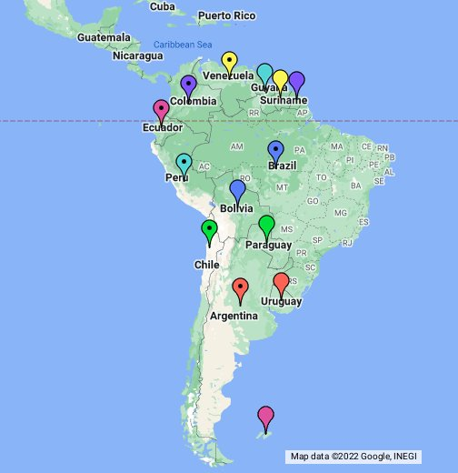 South America - Google My Maps on map show patagonia, map of chile and hawaii, map of chile with cities, map of nuclear power plants in the world, political leader of chile, map of patagonia region, people from chile, map of el cono sur, ecuador and chile, large map of chile, printable map of chile, political map of chile, map of chile coast, map of peru, detailed map of chile, map of patagonia chile, map chile argentina border, map of copiapo chile, street map of villarrica in chile, map of southern chile,