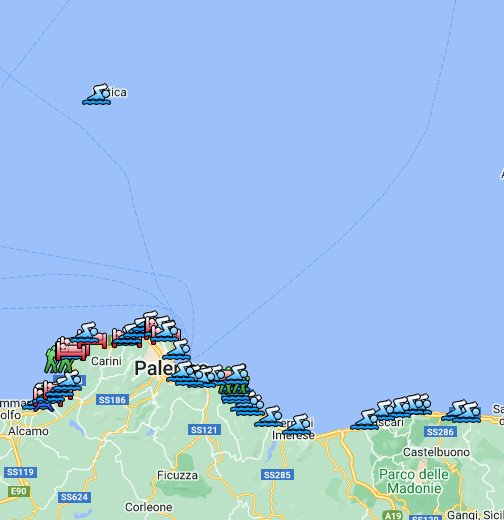 Cartina Sicilia Mondello.Spiagge Palermitane Il Mare A Palermo Google My Maps