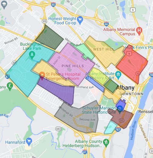 Map Albany Ny Albany Neighborhoods Map Albany Ny