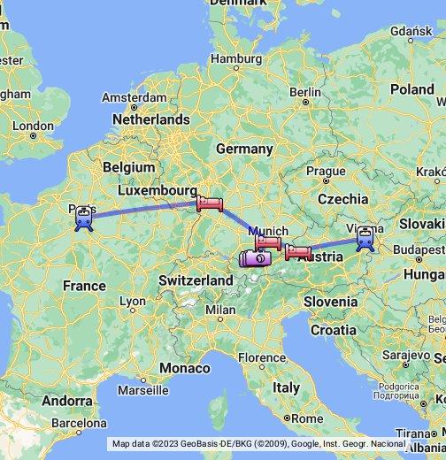 5 Day Paris To Vienna 1st Class Rail Tour 5r01 Google My Maps