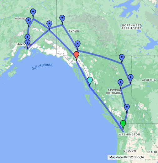 Road trip to Alaska - Google My Maps Google Alaska Map on us map alaska, google map of kotzebue, google earth ufo sightings, all the cities in alaska, google map of sitka, juneau alaska, gold mining regulations in alaska, sitka alaska, detailed map alaska, earth map alaska, wikimedia commons alaska, admiralty island alaska, large map alaska, printable maps alaska, downtown anchorage alaska, mapquest alaska, map of alaska, abc islands of alaska, can you see russia from alaska, google map southeast,