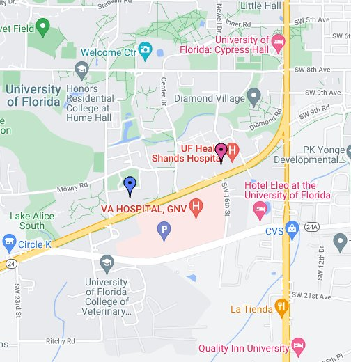 Map University Of Florida.Uf Congenital Heart Center Gainesville Fl Google My Maps