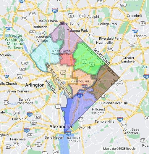Dc Metro Map Overlay Street Map.Dc Ward Map Overlay Google My Maps