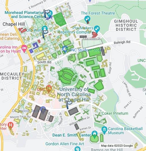 university of north carolina chapel hill campus map Unc Chapel Hill Google My Maps