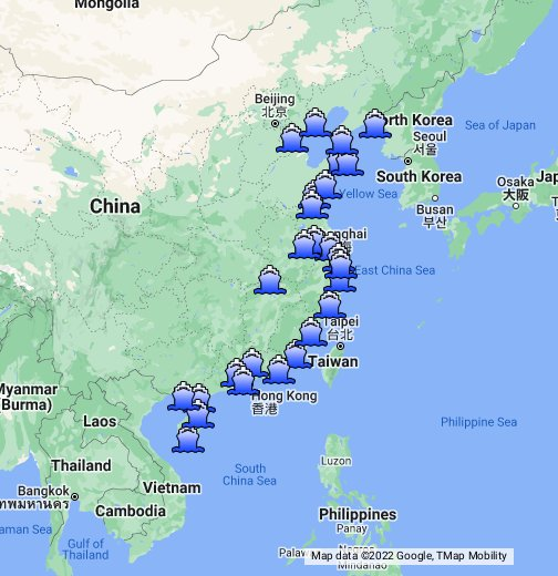 map of ports in china China Ocean Ports Google My Maps map of ports in china