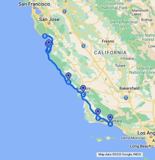 Central Coast Of California Google My Maps