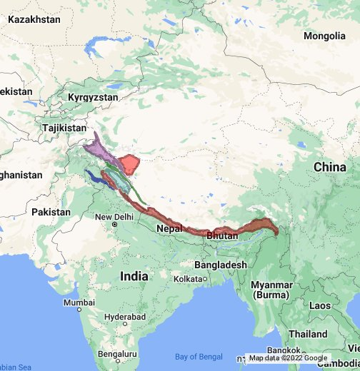 Himalayan Mountains Map Mountain Ranges of the Himalayas   Google My Maps Himalayan Mountains Map