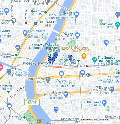 Ryogoku Area Of Tokyo - Google My Maps