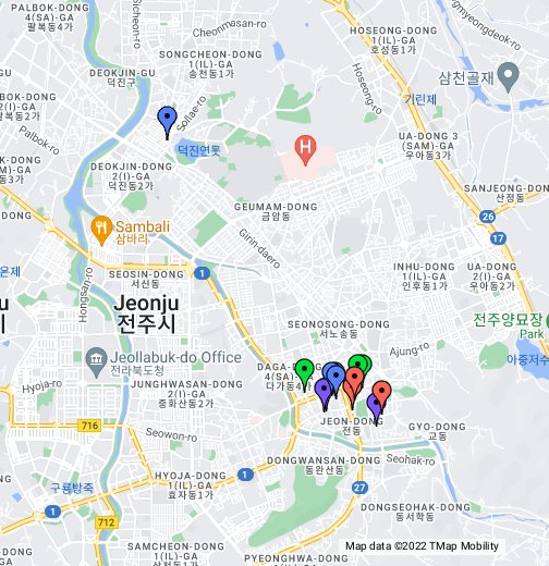 Jeonju Hanok Village Restaurants - Jeongju map