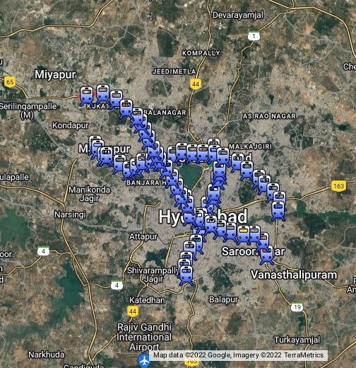 Hyderabad Satellite Map Hyderabad Metro   Google My Maps