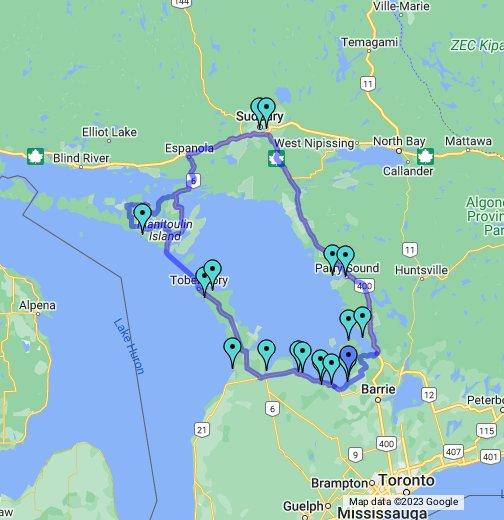 Baie Georgienne Map La tournée des plages   Route Côtière de la Baie Georgienne