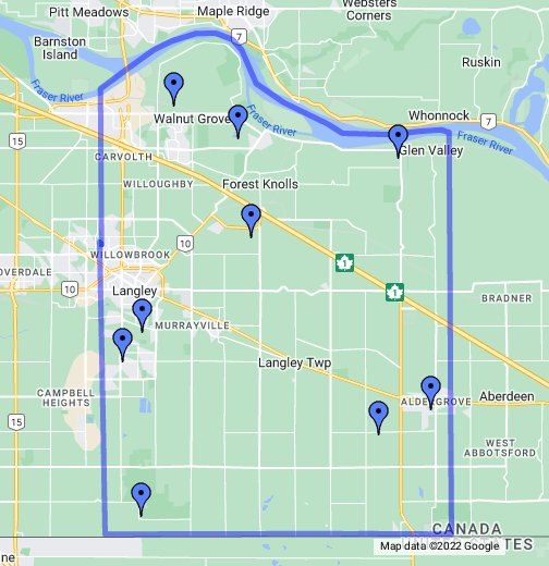 Langley Canada Map Langley Neighbourhood Map   Google My Maps