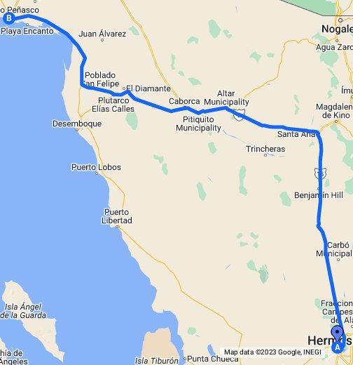 Altar Sonora Mexico Map.Hermosillo To Puerto Penasco Sonora Mexico Google My Maps
