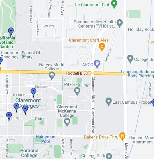 Claremont Colleges Campus Map.Claremont Colleges Library And Affiliated Libraries Google My Maps