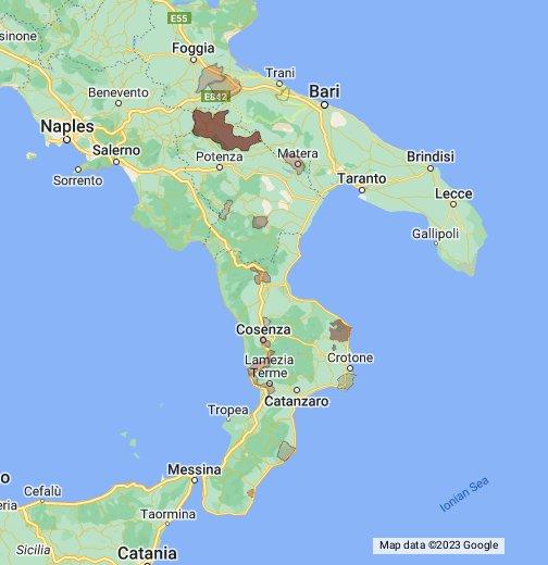Mappa Puglia E Basilicata.Italy Puglia Basilicata And Calabria Google My Maps