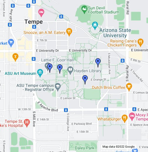 Asu Tempe Campus Map Best Places to Study at Tempe Campus in ASU.   Google My Maps