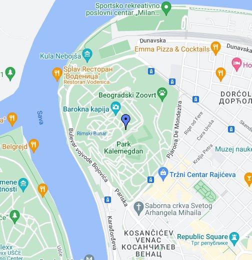 mapa beograda miljakovac Kalemegdan   by belgradenet.  Google My Maps mapa beograda miljakovac