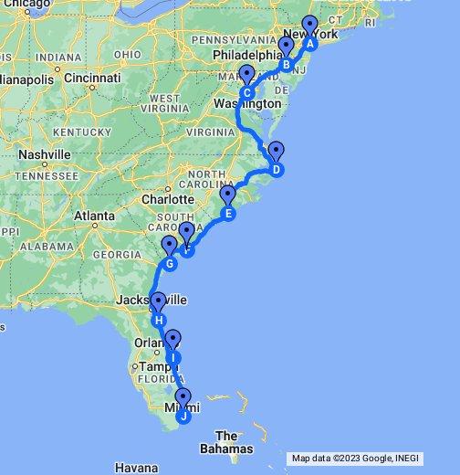 Usa Ostkuste Google My Maps