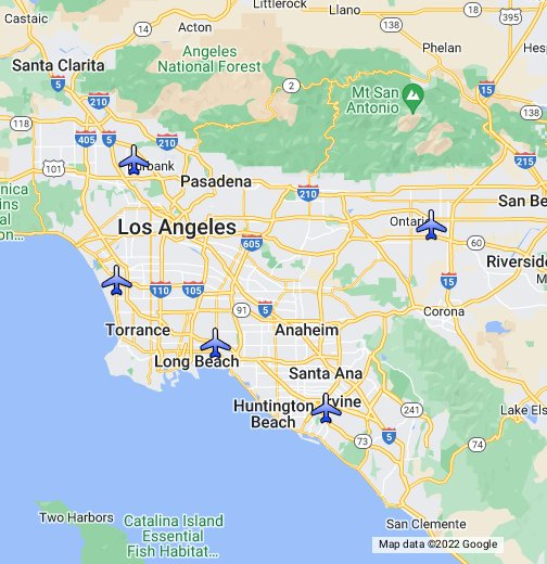 Map Southern California Airports Los Angeles Area Airports   Google My Maps