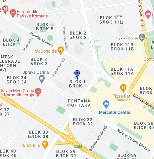 mapa novog beograda blokovi КОПА ФОНТАНА   НОВИ БЕОГРАД   БЛОК 1 – Моје Google мапе mapa novog beograda blokovi