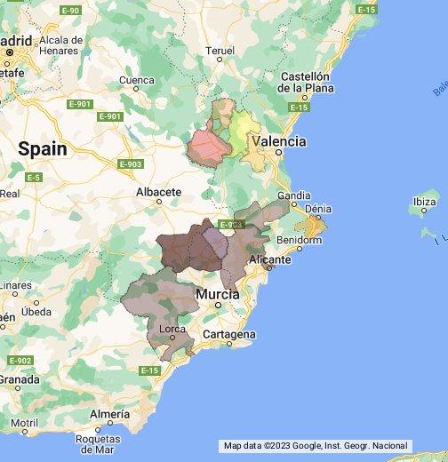 Map Of Spain Google.Spain Levante Google My Maps