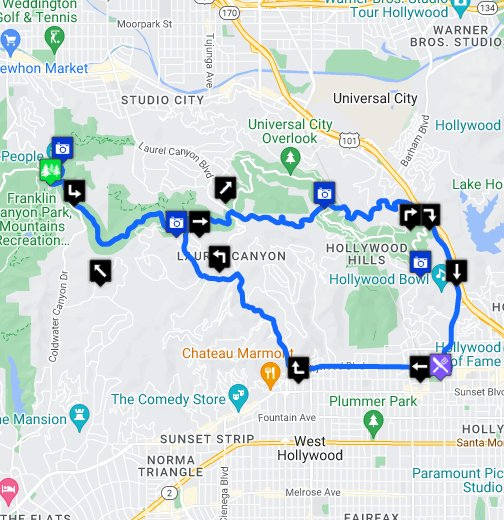 Auto Tour on Mulholland Drive starting at Hollywood and ... Drive Map on