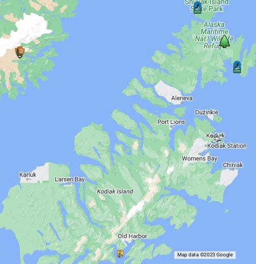 Kodiak Island Alaska Map.Kodiak Island Features Google My Maps