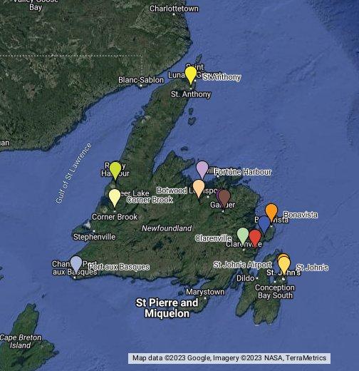Map Of Corner Brook Newfoundland Canada Newfoundland   Google My Maps