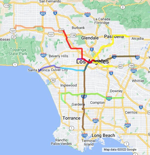 Los Angeles Metro Google My Maps