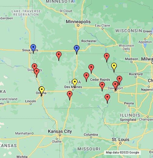 iowa casinos maps