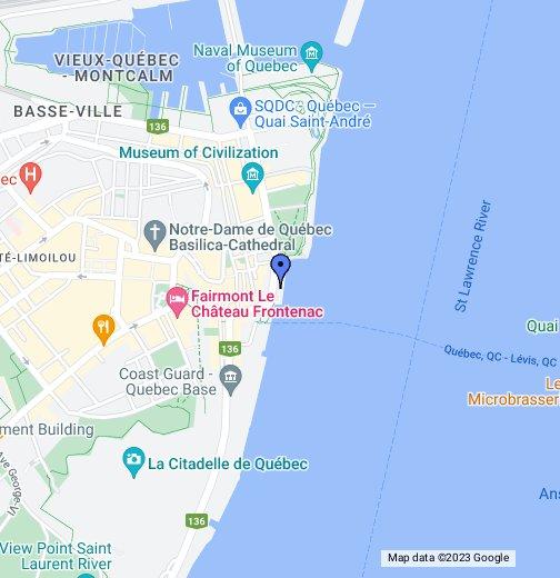 Old Quebec City, Cau Frontenac video - Google My Maps on world map quebec, major lakes in quebec, mapquest quebec, detailed map of quebec, google earth quebec,
