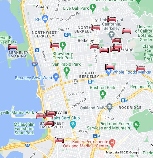 University California Map.Lodging Near Uc Berkeley Campus Google My Maps