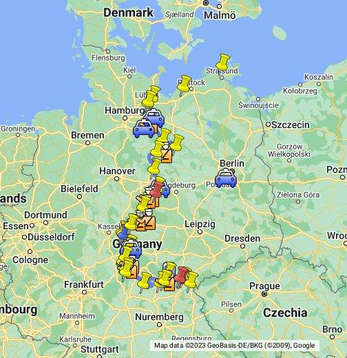 brd ddr karte Die innerdeutsche Grenze   Google My Maps
