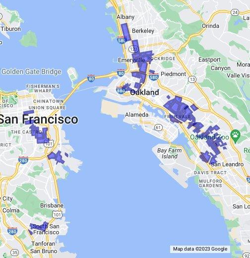 Oakland Gang Map San Francisco/Oakland/Berkeley Gang Map   Google My Maps Oakland Gang Map