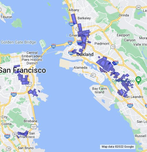 Gang Territory Map San Francisco/Oakland/Berkeley Gang Map   Google My Maps