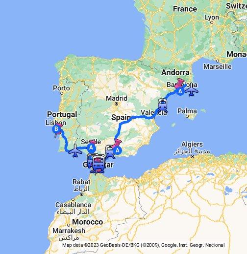 Spain Morocco Portugal - Portugal map google