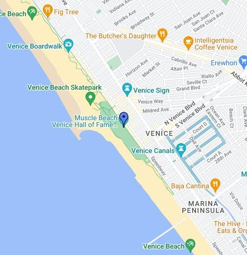 Muscle Beach Venice - Venice beach boardwalk map