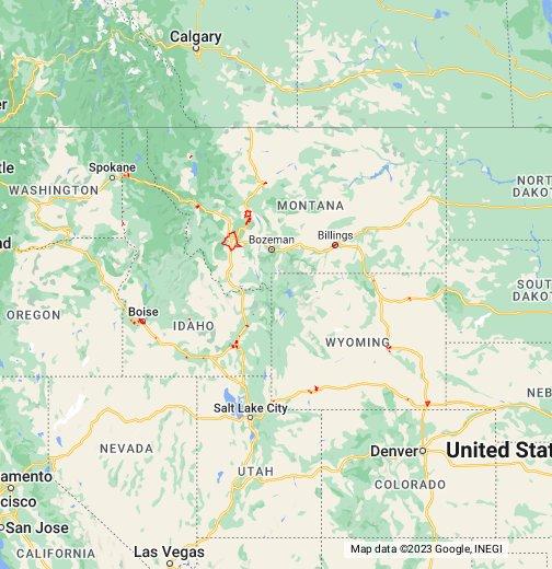 Montana And Idaho Map.Idaho Montana Wyoming Cities Nai Utah Google My Maps