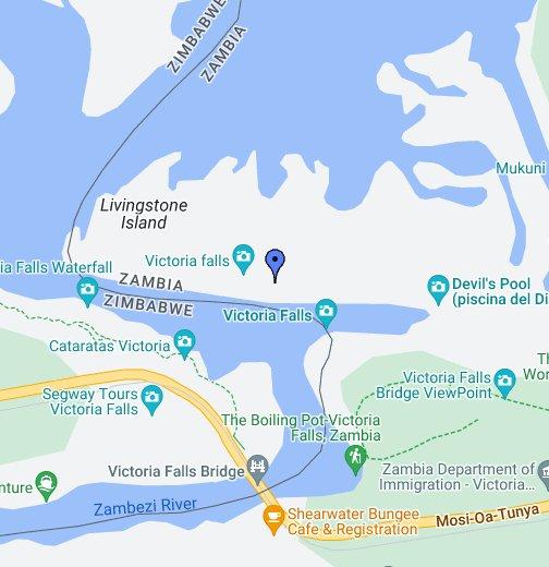Victoria Falls on Zambezi River - Google My Maps on