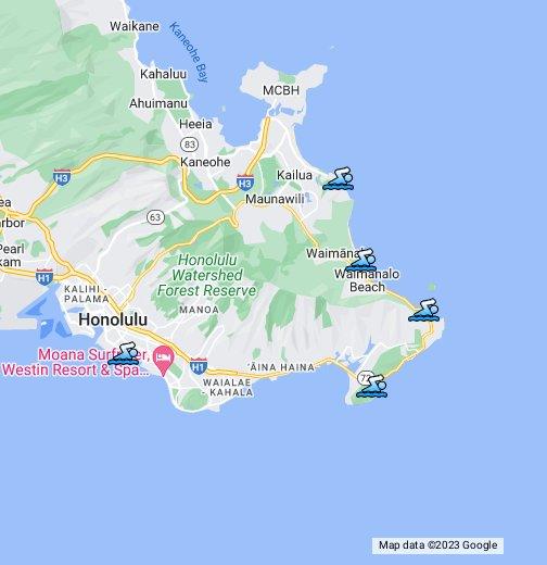 Beaches Oahu Hawaii Google My Maps