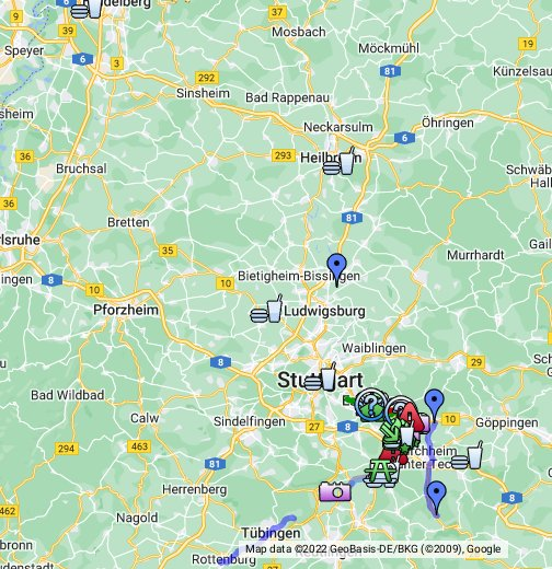 Neckarradweg Karte.Neckartal Radweg Stuttgart Nürtingen Tübingen Google My Maps