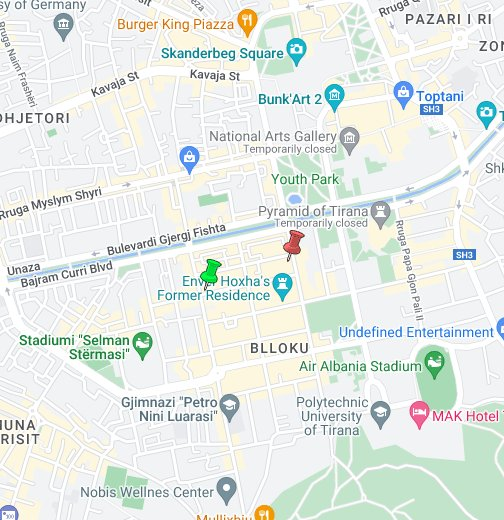 Tirana City Map Google My Maps