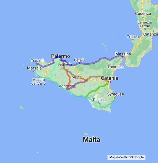 Cartina Strade Sicilia.Le Strade Statali Di Sicilia Google My Maps