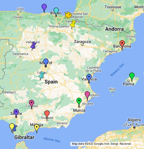 Google Spain Map.Spain Google My Maps