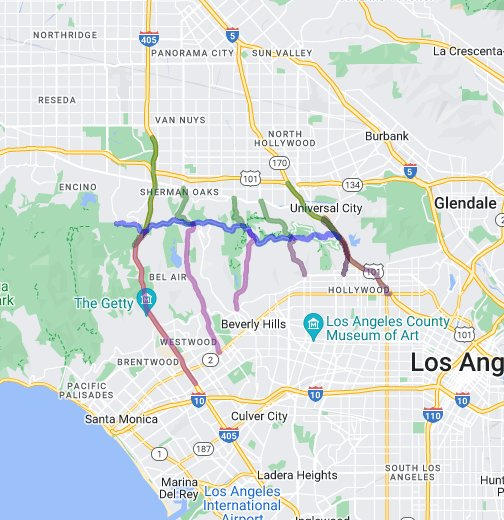 Access routes to Mulholland Drive - Google My Maps
