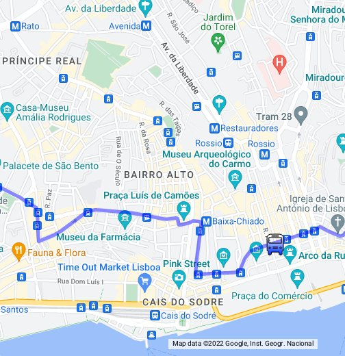 av da igreja lisboa mapa Recorrido Tranvía 28 de Lisboa   Google My Maps av da igreja lisboa mapa