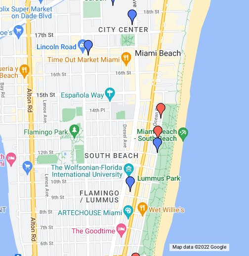 Karte Florida Miami.South Beach Miami Google My Maps