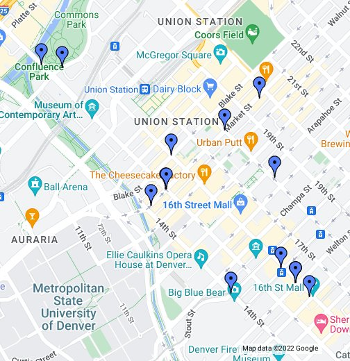 Downtown Denver Crime Map - Google My Maps on denver on map, denver maps by neighborhood, denver art museum map, denver city street map,