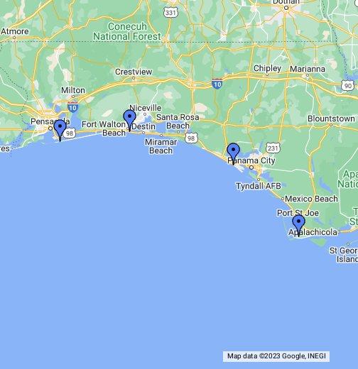 Map Of Destin Florida.Florida Panhandle Map Google My Maps